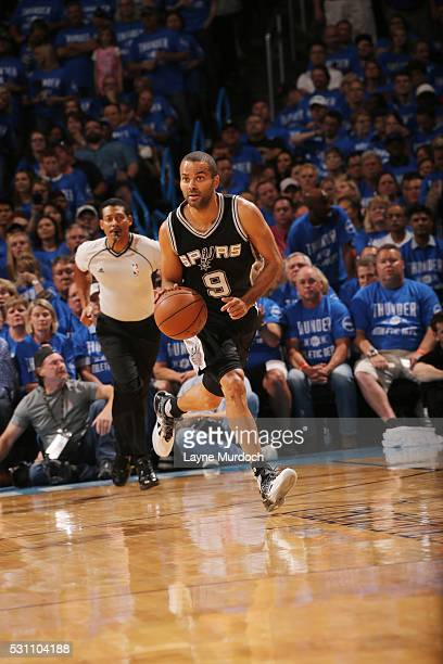 Tony Parker of the San Antonio Spurs handles the ball against the Oklahoma City Thunder in Game Six of Western Conference Quarterfinals of the 2016...