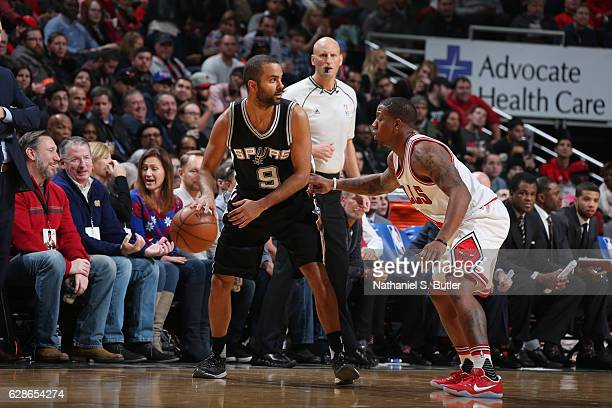 Tony Parker of the San Antonio Spurs handles the ball during a game against the Chicago Bulls at the United Center on December 8 2016 in Chicago...