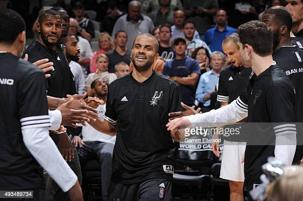 Tony Parker of the San Antonio Spurs is introduced against the Phoenix Suns during a preseason game on October 20 2015 at the ATT Center in San...