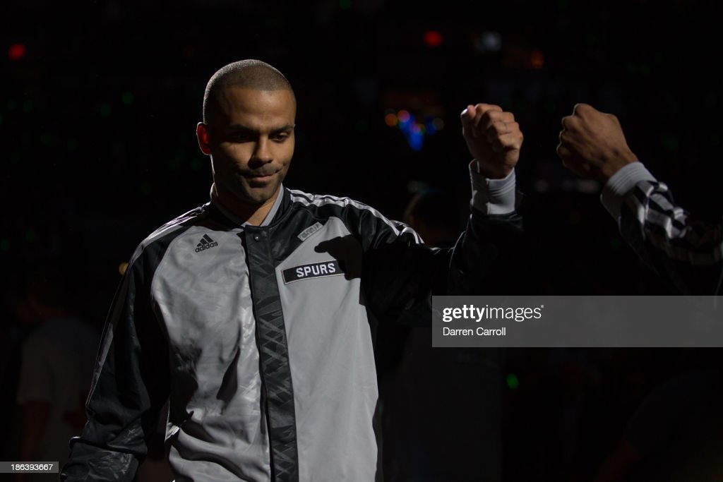 Tony Parker #9 of the San Antonio Spurs is introduced prior to a game against the Memphis Grizzlies on October 30, 2013 at the AT&T Center in San Antonio, Texas.