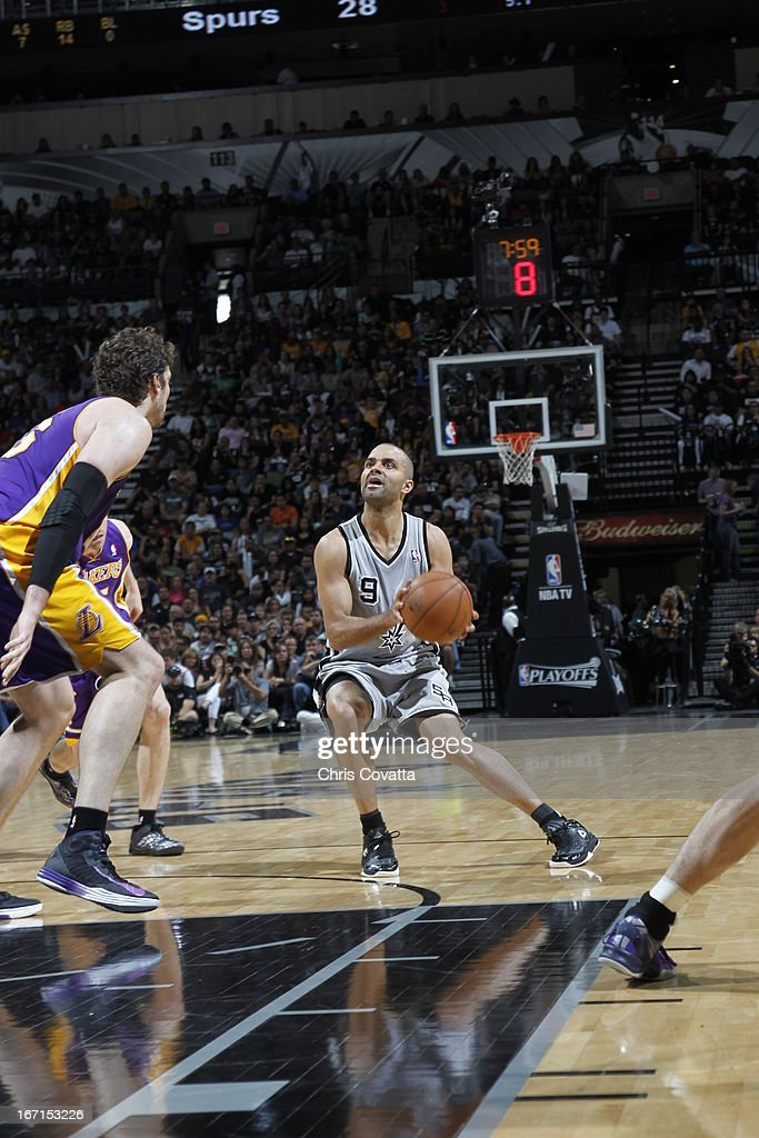 Tony Parker #9 of the San Antonio Spurs looks to shoot the ball during the Game One of the Western Conference Quarterfinals between the Los Angeles Lakers and the San Antonio Spurs on April 21, 2013 at the AT&T Center in San Antonio, Texas.