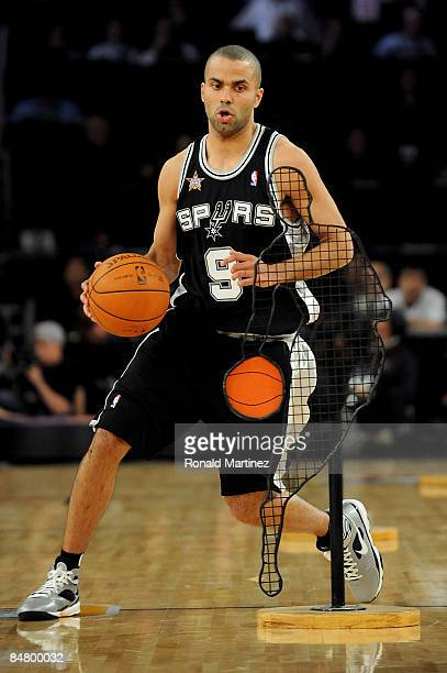 Tony Parker of the San Antonio Spurs participates in the Play Station Skills Challenge on AllStar Saturday Night part of 2009 NBA AllStar Weekend at...