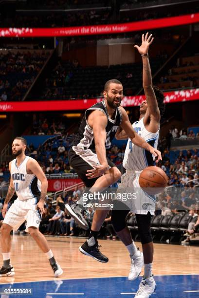 Tony Parker of the San Antonio Spurs passes the ball against the Orlando Magic during the game on February 15 2017 at Amway Center in Orlando Florida...