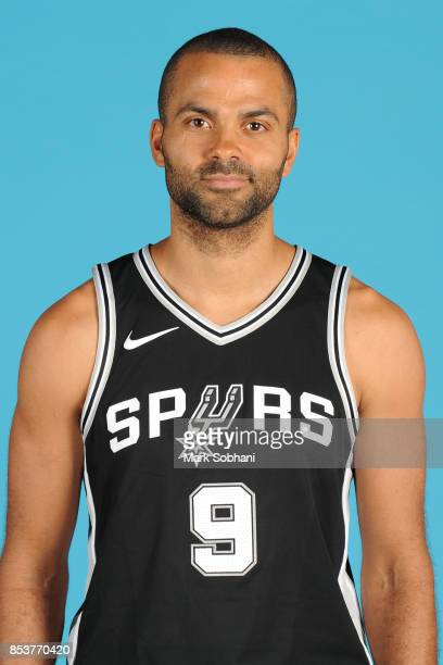 Tony Parker of the San Antonio Spurs poses for a head shot during media day in San Antonio Texas at ATT Center on September 25 2017 NOTE TO USER User...