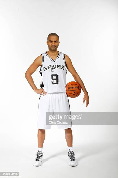Tony Parker of the San Antonio Spurs poses for a portrait during media day at the Spurs Training Facility on September 28 2015 in San Antonio Texas...