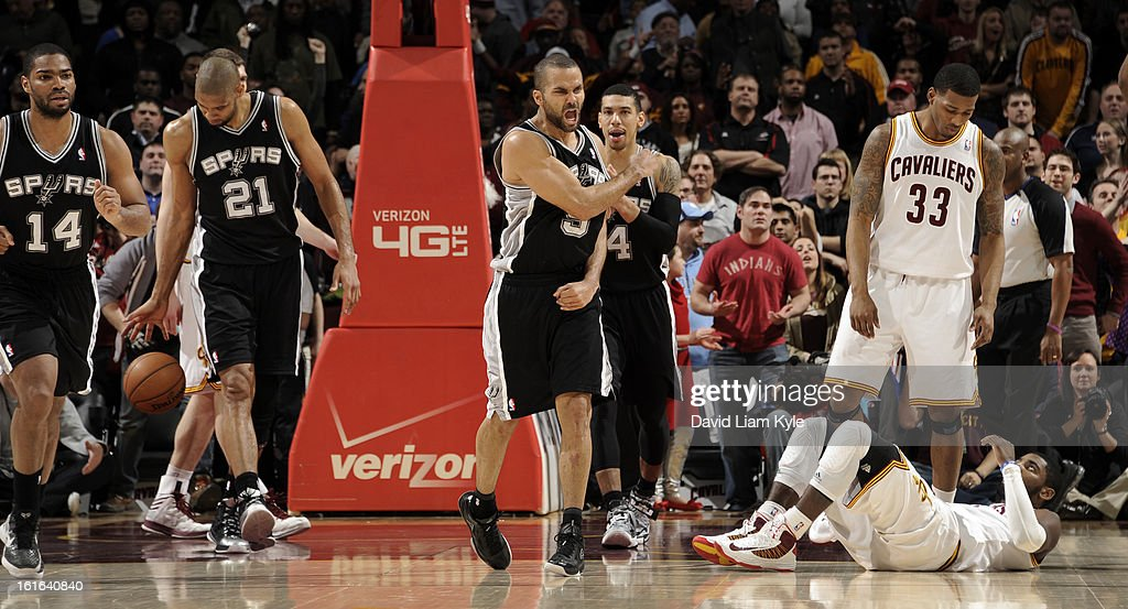 Tony Parker #9 of the San Antonio Spurs reacts after the final buzzer in their victory over the Cleveland Cavaliers at The Quicken Loans Arena on February 13, 2013 in Cleveland, Ohio.
