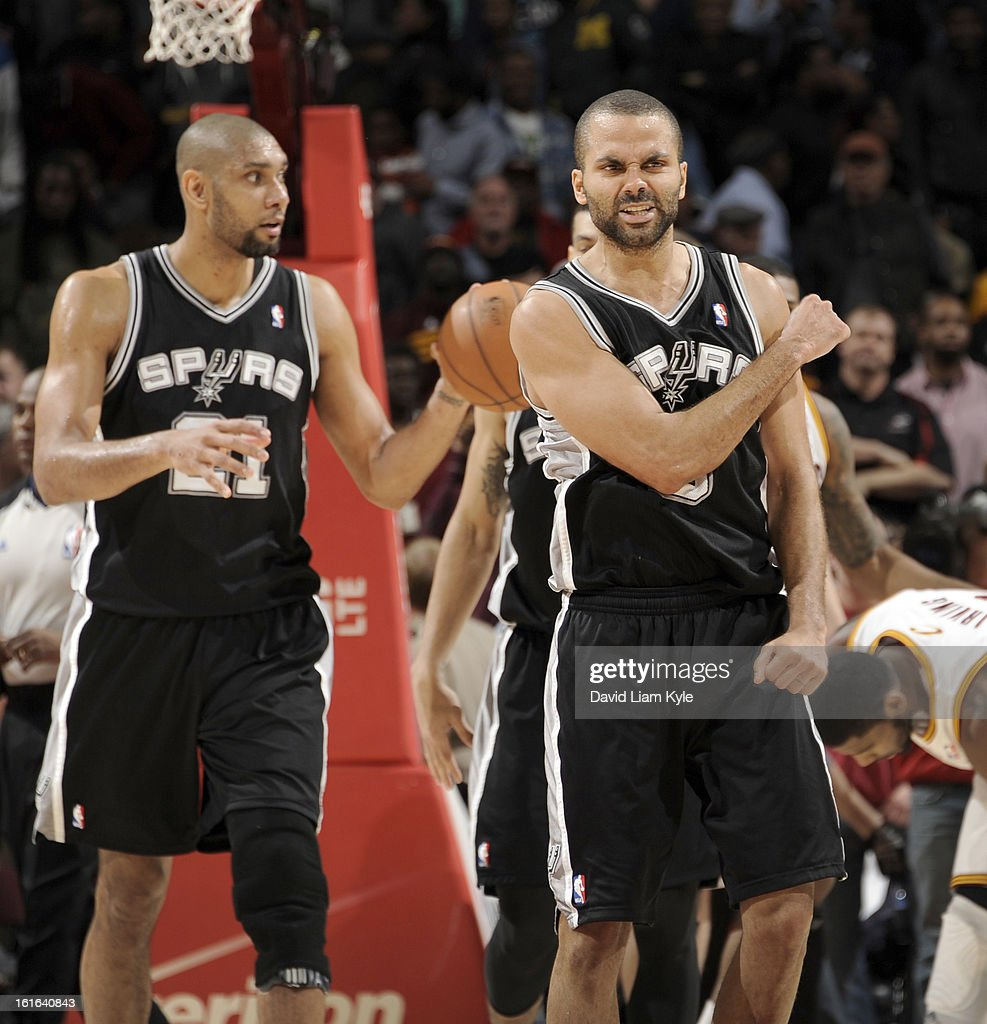 <a gi-track='captionPersonalityLinkClicked' href=/galleries/search?phrase=Tony+Parker&family=editorial&specificpeople=160952 ng-click='$event.stopPropagation()'>Tony Parker</a> #9 of the San Antonio Spurs reacts after the final buzzer in their victory over the Cleveland Cavaliers at The Quicken Loans Arena on February 13, 2013 in Cleveland, Ohio.