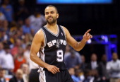 Tony Parker of the San Antonio Spurs reacts in the fourth quarter while taking on the Memphis Grizzlies during Game Four of the Western Conference...
