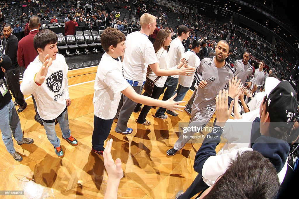 <a gi-track='captionPersonalityLinkClicked' href=/galleries/search?phrase=Tony+Parker&family=editorial&specificpeople=160952 ng-click='$event.stopPropagation()'>Tony Parker</a> #9 of the San Antonio Spurs runs out before the game against the Brooklyn Nets on February 10, 2013 at the Barclays Center in the Brooklyn borough of New York City.