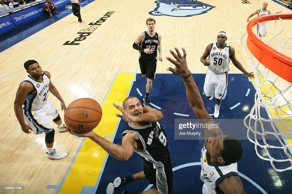 Tony Parker #9 of the San Antonio Spurs shoots a layup against <a gi-track='captionPersonalityLinkClicked' href=/galleries/search?phrase=Tony+Allen+-+Basketball+Player&family=editorial&specificpeople=201665 ng-click='$event.stopPropagation()'>Tony Allen</a> #9 of the Memphis Grizzlies on January 11, 2013 at FedExForum in Memphis, Tennessee.