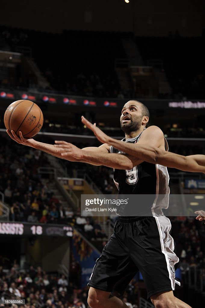 Tony Parker #9 of the San Antonio Spurs shoots against the Cleveland Cavaliers at The Quicken Loans Arena on February 13, 2013 in Cleveland, Ohio.
