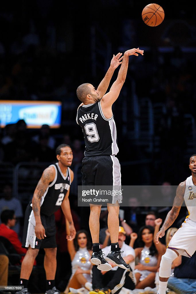 <a gi-track='captionPersonalityLinkClicked' href=/galleries/search?phrase=Tony+Parker&family=editorial&specificpeople=160952 ng-click='$event.stopPropagation()'>Tony Parker</a> #9 of the San Antonio Spurs shoots against the Los Angeles Lakers in Game Four of the Western Conference Quarterfinals during the 2013 NBA Playoffs at Staples Center on April 28, 2013 in Los Angeles, California.