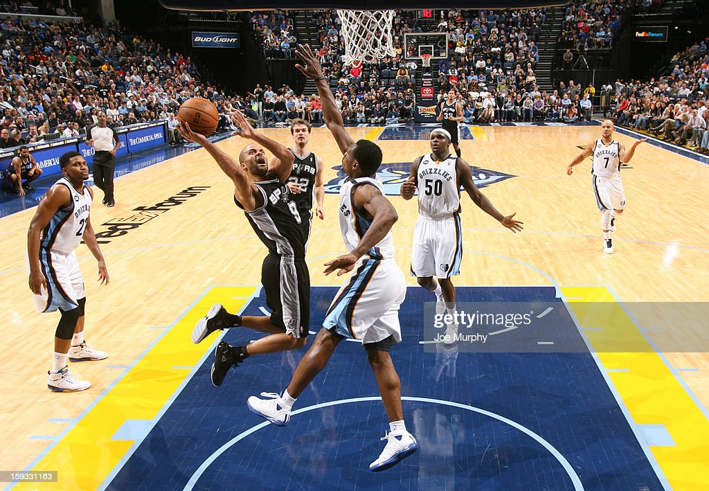 Tony Parker #9 of the San Antonio Spurs shoots against <a gi-track='captionPersonalityLinkClicked' href=/galleries/search?phrase=Tony+Allen+-+Basketball+Player&family=editorial&specificpeople=201665 ng-click='$event.stopPropagation()'>Tony Allen</a> #9 of the Memphis Grizzlies on January 11, 2013 at FedExForum in Memphis, Tennessee.