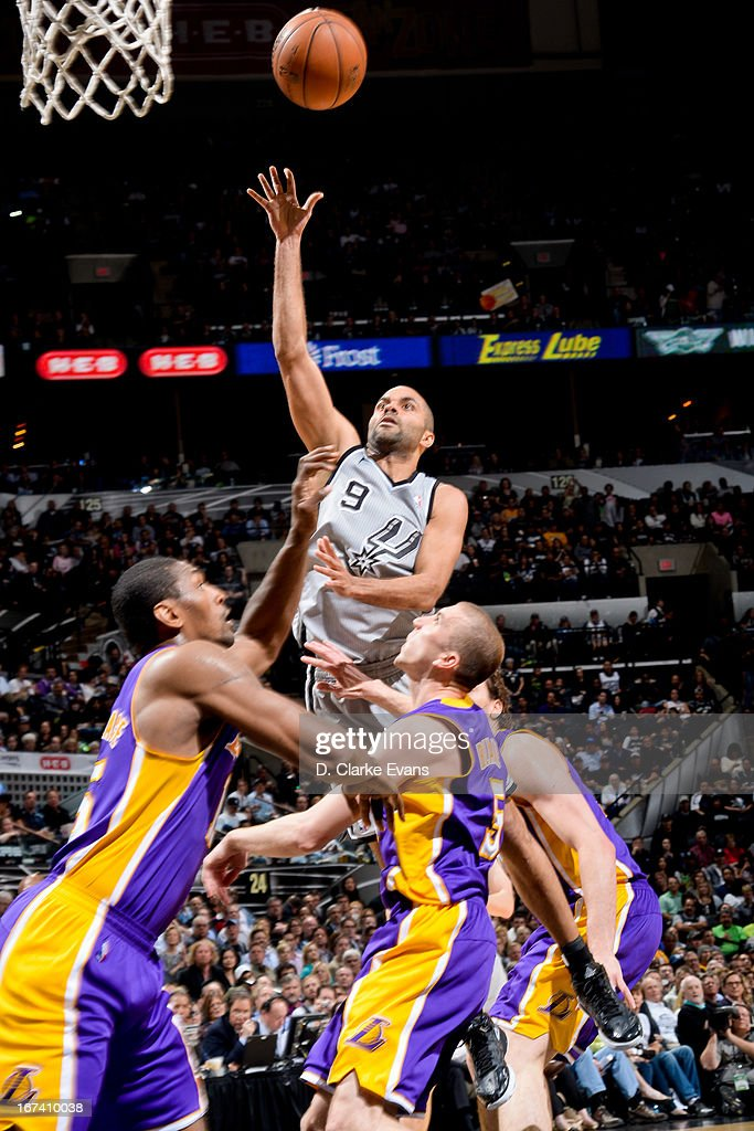 Tony Parker #9 of the San Antonio Spurs shoots in the lane against the Los Angeles Lakers in Game Two of the Western Conference Quarterfinals during the 2013 NBA Playoffs on April 24, 2013 at the AT&T Center in San Antonio, Texas.