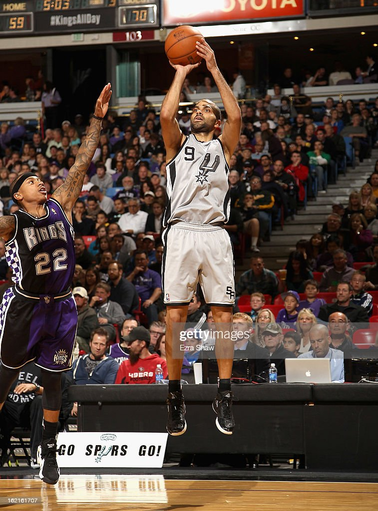 Tony Parker #9 of the San Antonio Spurs shoots over Isaiah Thomas #22 of the Sacramento Kings at Sleep Train Arena on February 19, 2013 in Sacramento, California.