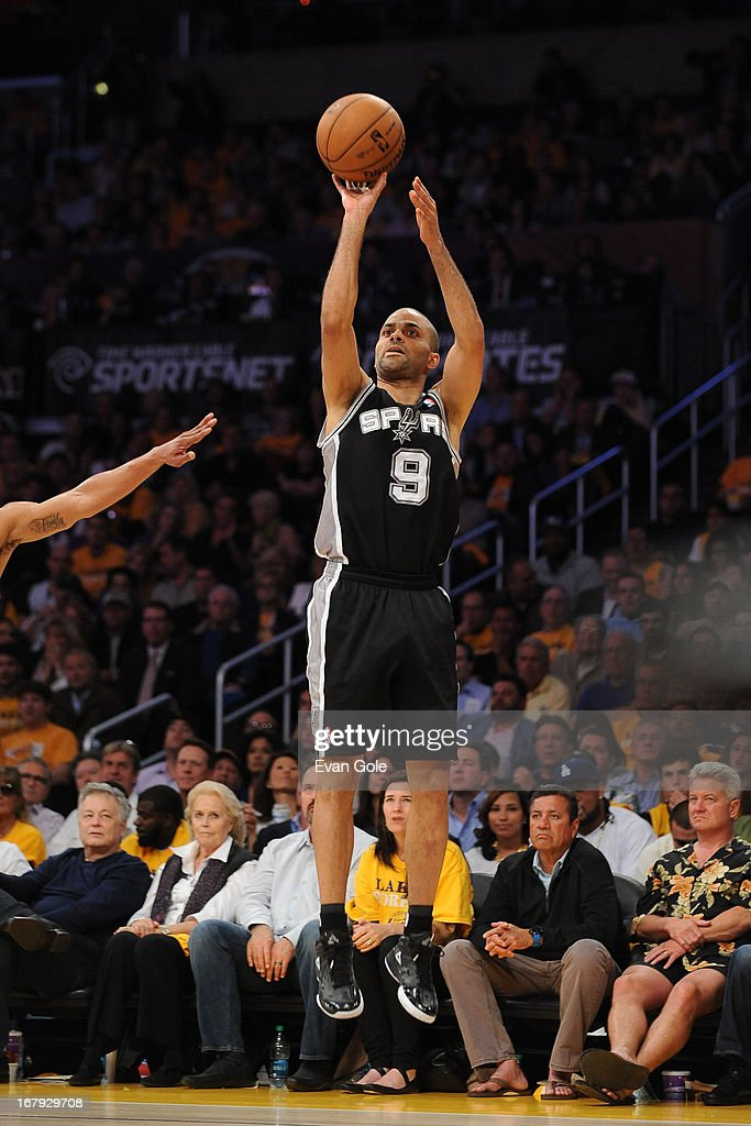 Tony Parker #9 of the San Antonio Spurs shoots the ball against the Los Angeles Lakers at Staples Center in Game Three of the Western Conference Quarterfinals during the 2013 NBA Playoffs on April 26, 2013 in Los Angeles, California.