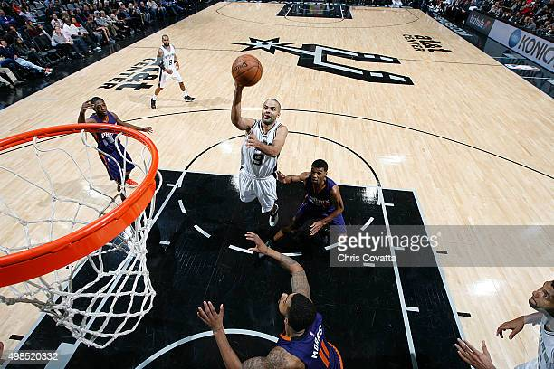 Tony Parker of the San Antonio Spurs shoots the ball against the Phoenix Suns on November 23 2015 at the ATT Center in San Antonio Texas NOTE TO USER...