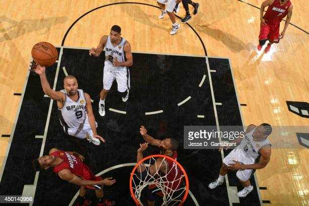 Tony Parker of the San Antonio Spurs shoots the ball against the Miami Heat during Game One of the 2014 NBA Finals on June 5 2014 at ATT Center in...
