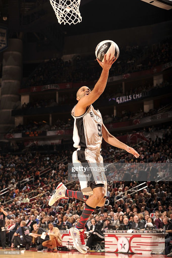 Tony Parker #9 of the San Antonio Spurs shoots the ball during the 2013 Taco Bell Skills Challenge on State Farm All-Star Saturday Night as part of 2013 NBA All-Star Weekend on February 16, 2013 at Toyota Center in Houston, Texas.