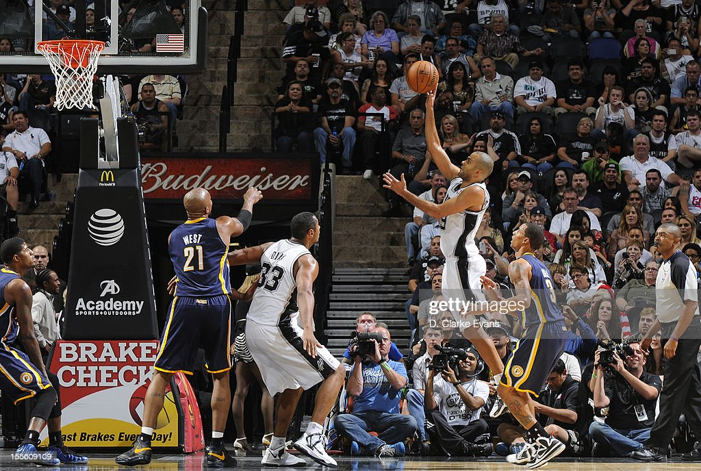 Tony Parker #9 of the San Antonio Spurs shoots the ball to the basket during the game between the Indiana Pacers and the San Antonio Spurs on November 5, 2012 at the AT&T Center in San Antonio, Texas.