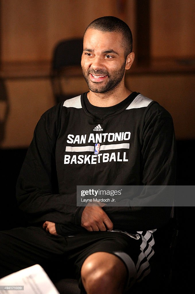 Tony Parker #9 of the San Antonio Spurs sits down with Ahmad Rashad for a One on One exclusive interview for the NBA during Western Conference Finals of the 2014 NBA Playoffs on May 26, 2014 at the Chesapeake Energy Arena in Oklahoma City, Oklahoma.
