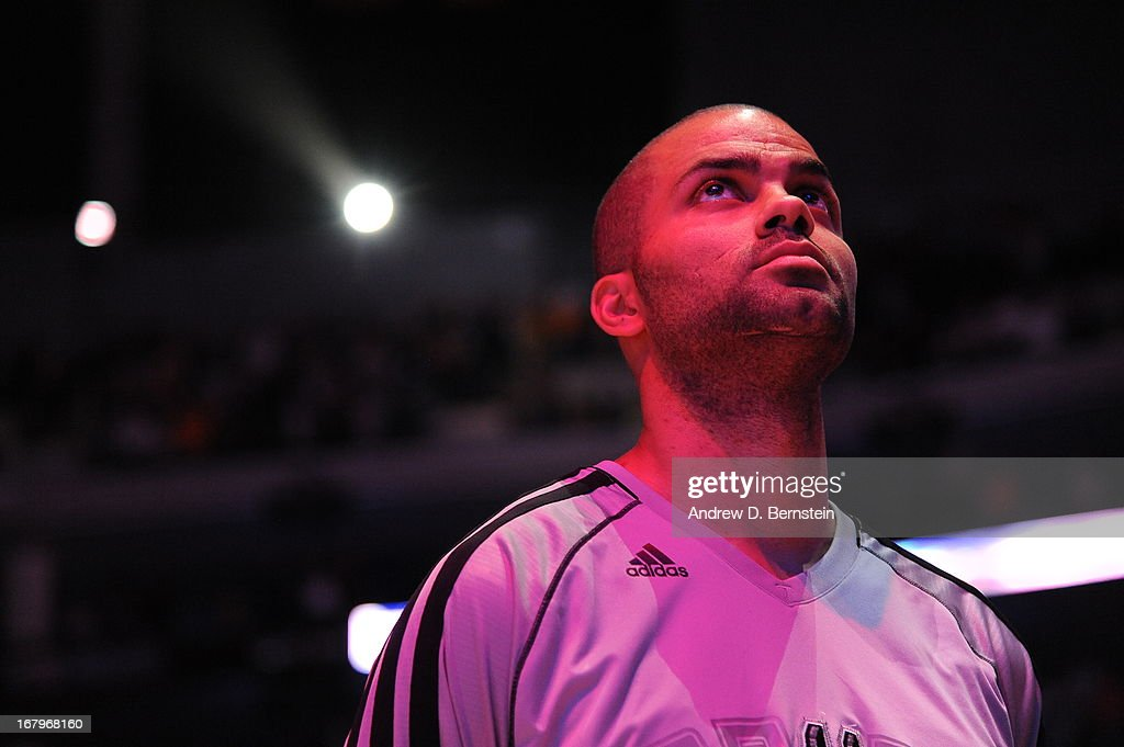 Tony Parker #9 of the San Antonio Spurs stands on the court before the game against the Los Angeles Lakers at Staples Center on April 14, 2013 in Los Angeles, California.