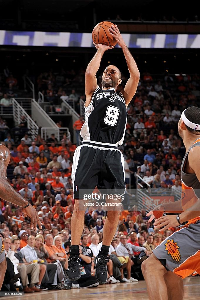 Tony Parker #9 of the San Antonio Spurs takes a jump shot while taking on the Phoenix Suns in Game Two of the Western Conference Semifinals during the 2010 NBA Playoffs on May 5, 2010 at US Airways Center in Phoenix, Arizona. The Suns won 110-102.