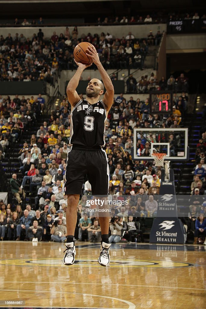 Tony Parker #9 of the San Antonio Spurs takes a shot vs the Indiana Pacers on November 23, 2012 at Bankers Life Fieldhouse in Indianapolis, Indiana.