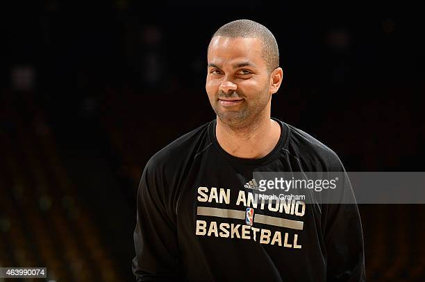 Tony Parker of the San Antonio Spurs warms up before the game against the Golden State Warriors on February 20 2015 at Oracle Arena in Oakland...