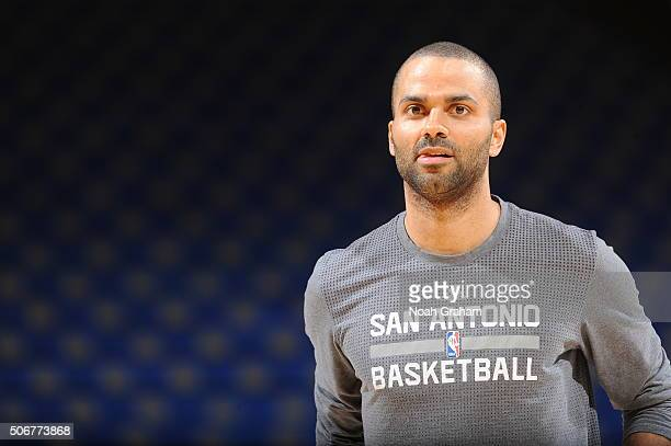 Tony Parker of the San Antonio Spurs warms up prior to the game against the Golden State Warriors on January 25 2016 at Oracle Arena in Oakland...