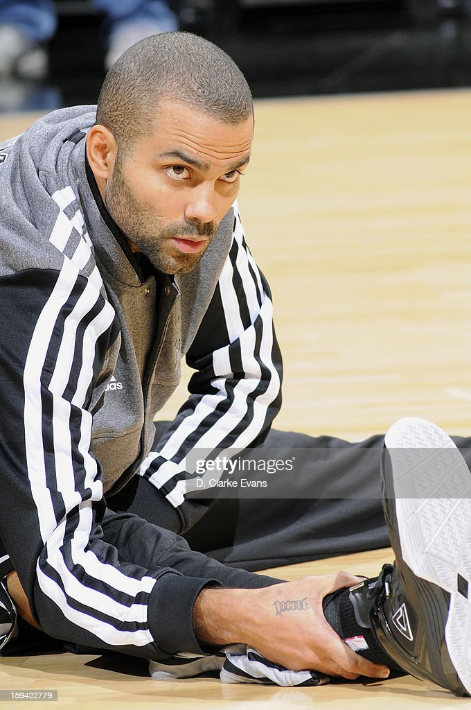 Tony Parker #9 of the San Antonio Spurs warms upo before the game against the Minnesota Timberwolves on January 13, 2013 at the AT&T Center in San Antonio, Texas.