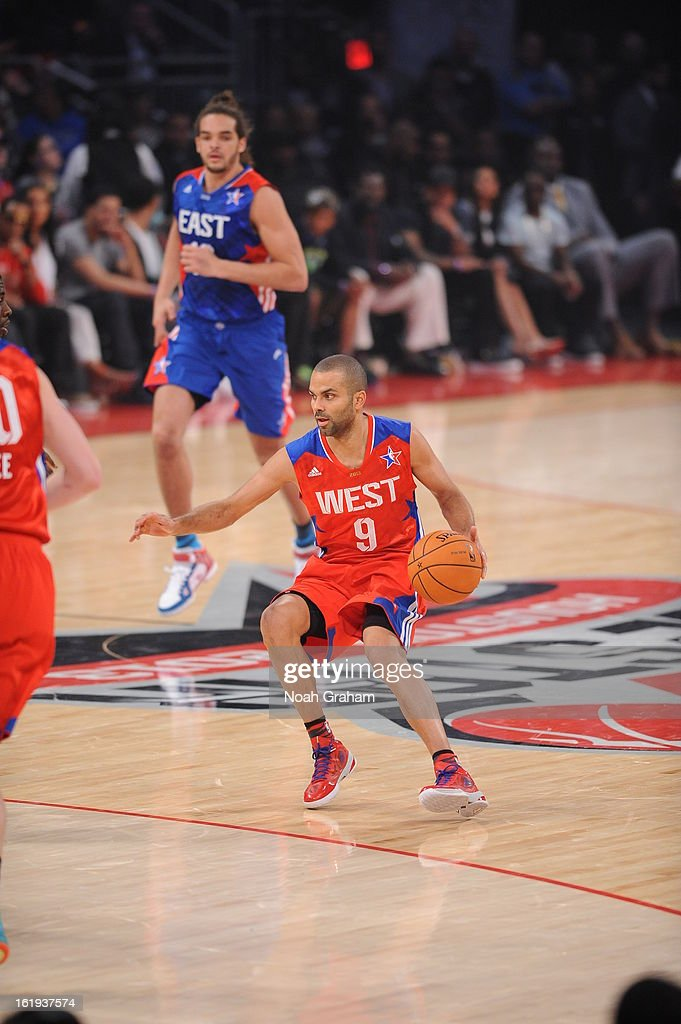 Tony Parker #9 of the Western Conference All-Stars dribbles against the Eastern Conference All-Stars during the 2013 NBA All-Star Game presented by Kia on February 17, 2013 at the Toyota Center in Houston, Texas.