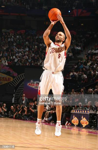 Tony Parker of the Western Conference attempts a shot against the Eastern Conference during the 2007 NBA AllStar Game on February 18 2007 at Thomas...