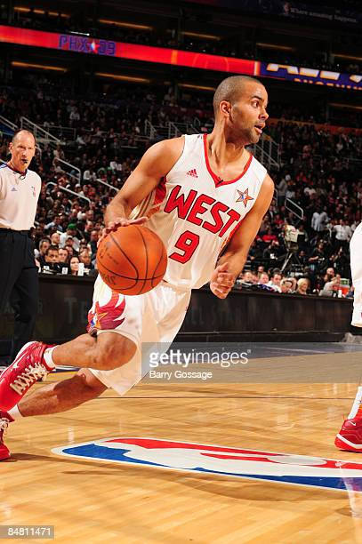 Tony Parker of the Western Conference dribbles during the 58th NBA AllStar Game part of 2009 NBA AllStar Weekend at US Airways Center on February 15...
