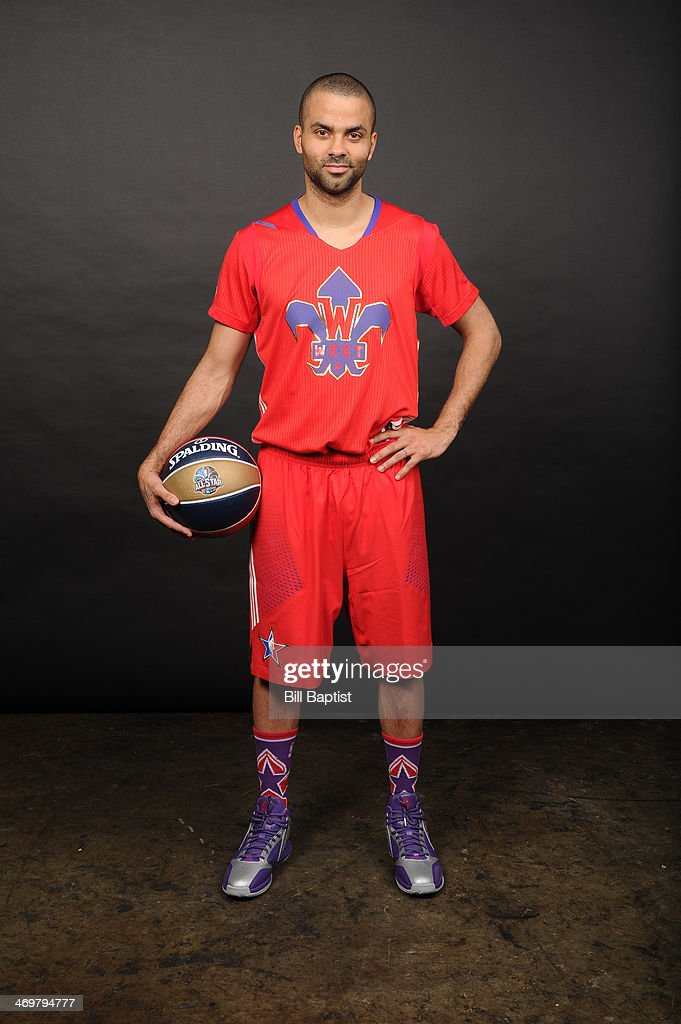 Tony Parker #9 of Western Conference All-Stars poses for a portrait prior to the of the 2014 NBA All-Star Game on February 16, 2014 at the Smoothie King Center in New Orleans, Louisiana.