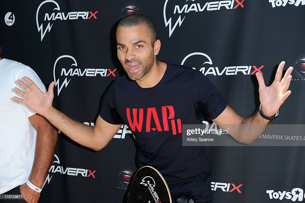 Tony Parker presents Maverix Electric Skate at La Defense in Paris at La Defense on July 17, 2013 in Paris, France.