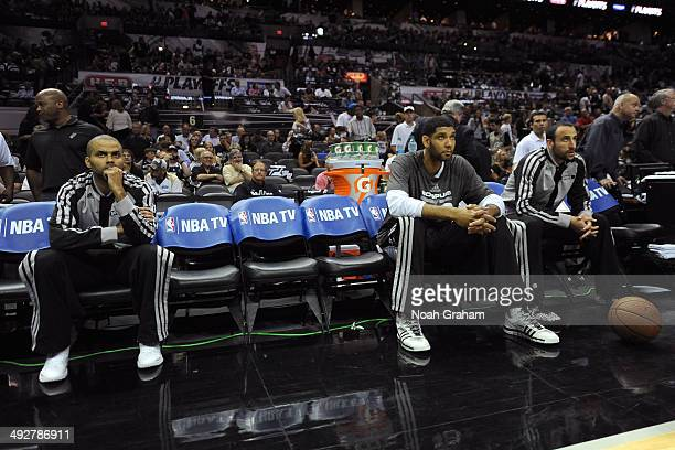 Tony Parker Tim Duncan and Manu Ginobili of the San Antonio Spurs get ready before Game Two of the Western Conference Finals against the Oklahoma...