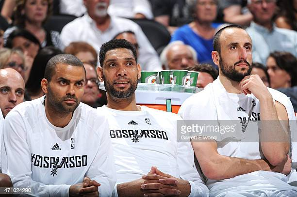 Tony Parker Tim Duncan and Manu Ginobili of the San Antonio Spurs during the game against the Los Angeles Clippers during Game Three of the Western...