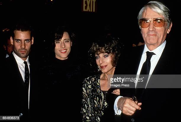 Tony Peck Cecilia Peck Veronique Peck and Gregory Peck circa 1989 in New York City