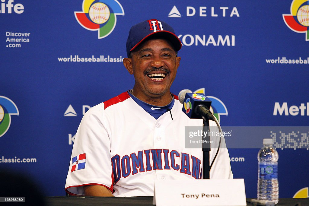 Tony Pena #6 manager of Team Dominican Republic speaks with the media after Pool 2, Game 6 against Team Puerto Rico in the second round of the 2013 World Baseball Classic on Saturday, March 16, 2013 at Marlins Park in Miami, Florida.