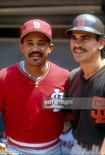 Tony Pena of the St Louis Cardinals and Benito Santiago of the San Diego Padres poses together for this portrait July 11 1989 at the MLB All Star...