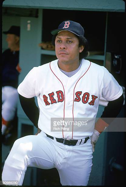 Tony Perez of the Boston Red Sox watches the game from the dugout at Fenway Park in Boston Massachusetts in 1980