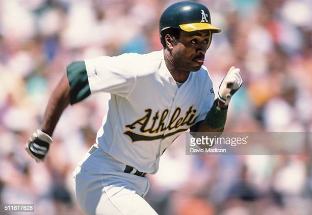 Tony Phillips of the Oakland A's runs to first base during a Major League Baseball game played in May 1989 at the OaklandAlameda County Coliseum in...