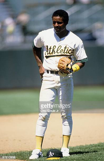 Tony Phillips of the Oakland Athletics looks on during a game in the 1989 season at OaklandAlameda County Coliseum in Oakland California