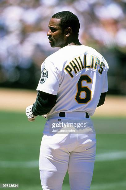 Tony Phillips of the Oakland Athletics looks on during the game against the Los Angeles Dodgers at Network Associates Coliseum on June 13 1999 in...
