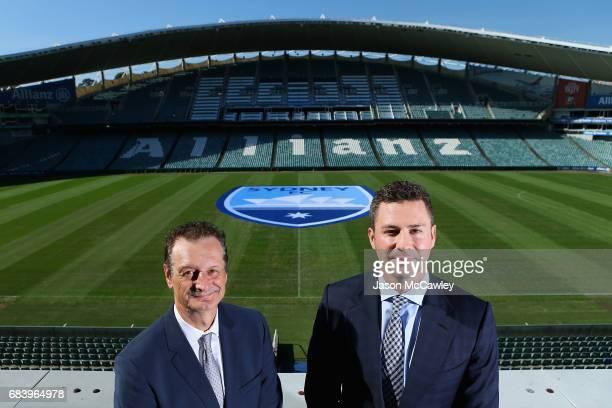Tony Pignata Sydney FC CEO and Scott Barlow Sydney FC Chairman pose during a Sydney FC ALeague media opportunity announcing their new logo at Allianz...