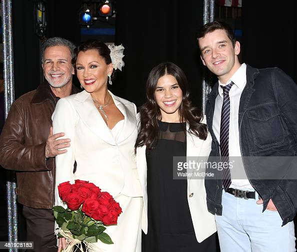 Tony Plana Vanessa Williams America Ferrera and Michael Urie backstage after seeing the Broadway musical 'After Midnight' at The Brooks Atkinson...