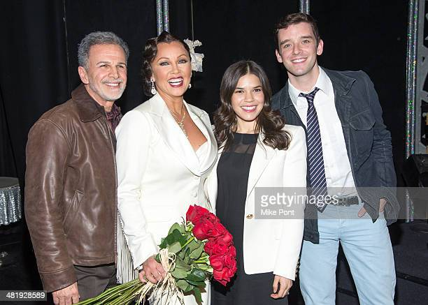 Tony Plana Vanessa Williams America Ferrera and Michael Urie backstage at Broadway's 'After Midnight' at The Brooks Atkinson Theatre on April 1 2014...