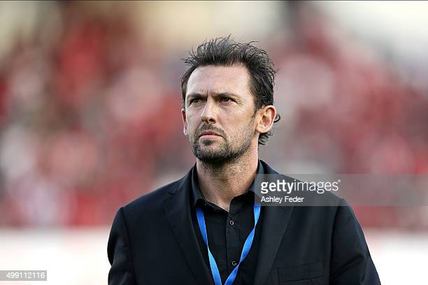 Tony Popovic coach of the Wanderers looks on during the round eight ALeague match between the Central Coast Mariners and the Western Sydney Wanderers...