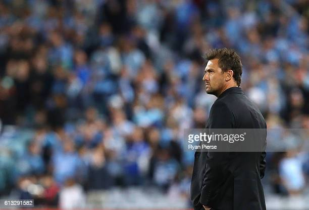 Tony Popovic coach of the Wanderers looks on during the round one ALeague match between the Western Sydney Wanderers and Sydney FC at ANZ Stadium on...